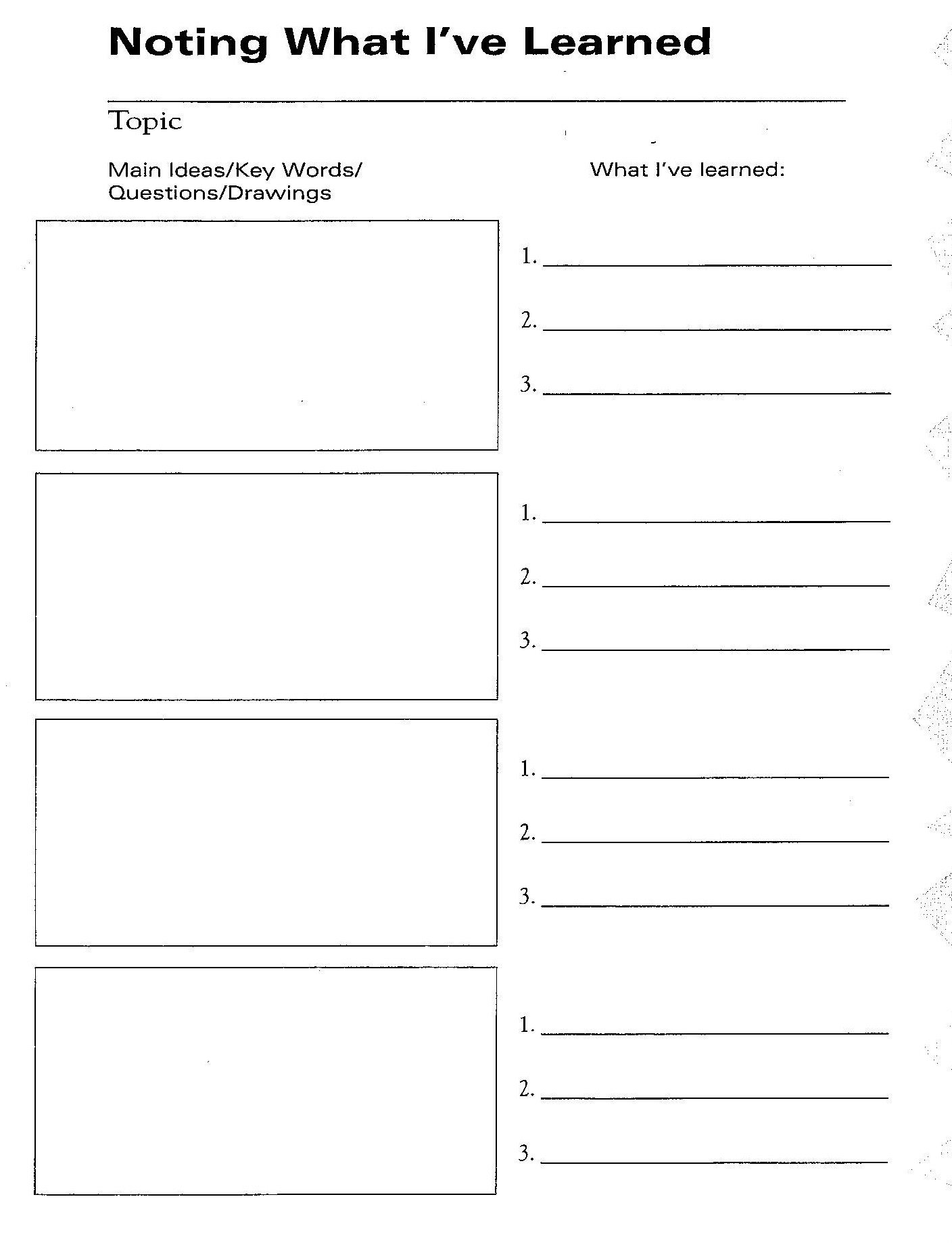 Student Success Mrs Godfreys History Class – Note Taking Template Microsoft Word